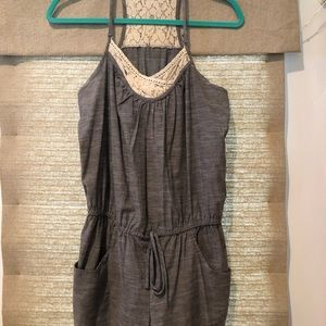 Lace accented romper